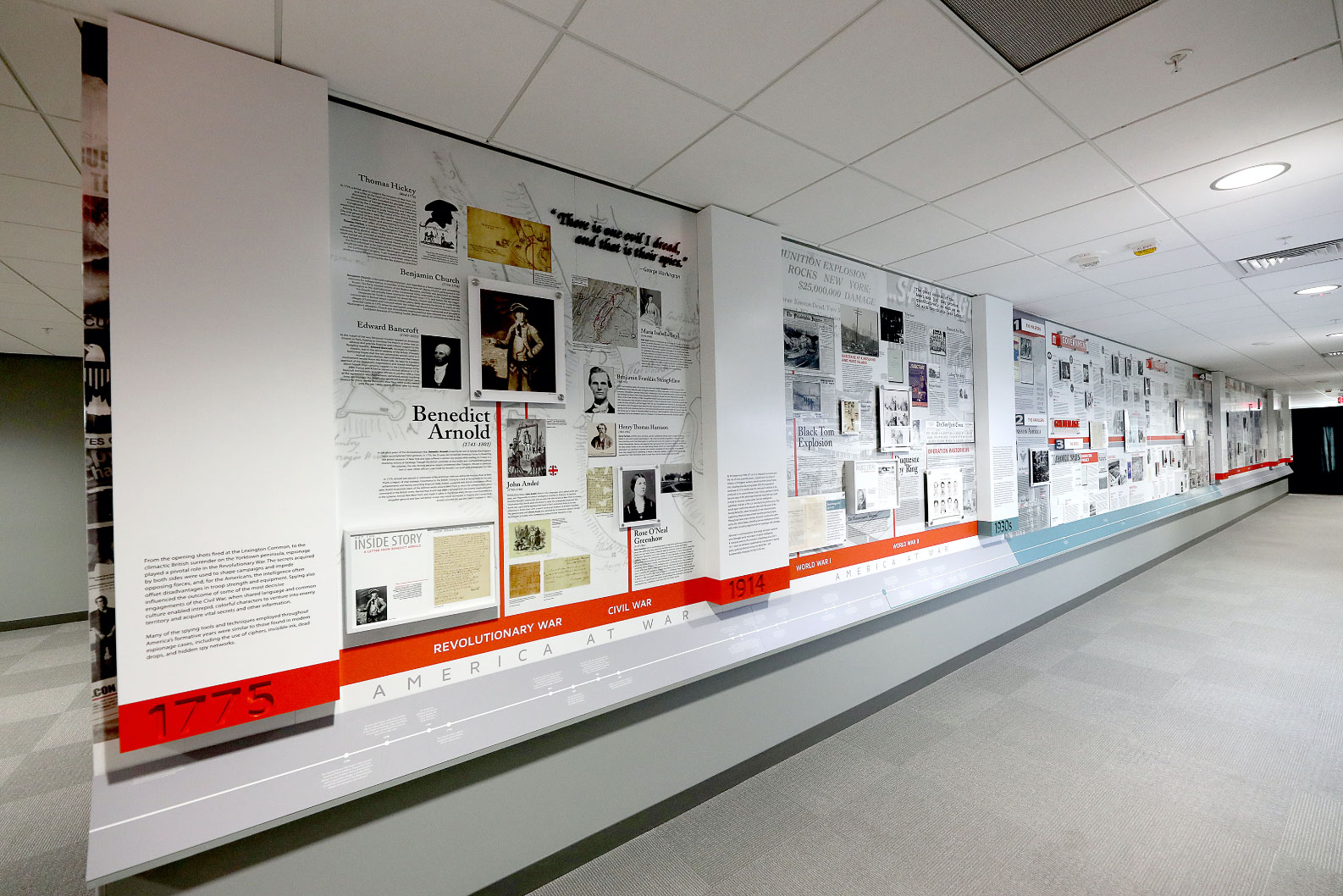 The Wall of Spies special exhibit housed at the Intelligence Community Campus Bethesda