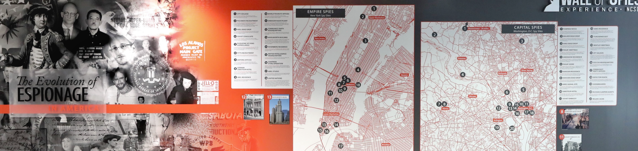an image of The Wall of Spies Experience including detailed accounts of more than 135 spies who betrayed America