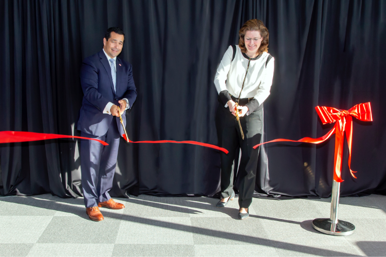 Ribbon cutting of the Wall of Spies Experience